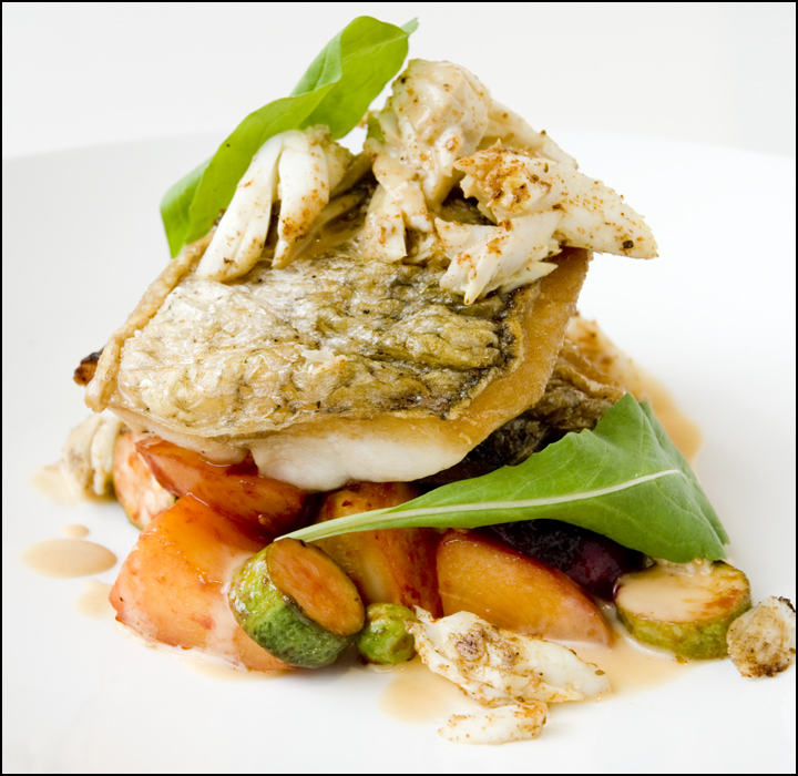 Crispy-Skin Striped Bass (Rockfish), True-Blue Crab Meat,
