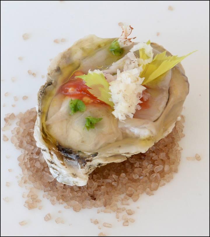 Chesapeake Oyster, Tomato Segment, Basil Flower, Worcestershire Vinaigrette, Horseradish