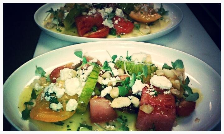Heirloom Tomato and Watermelon Salad, Macadamia Nuts, Feta, Fines Herbes Vinaigrette