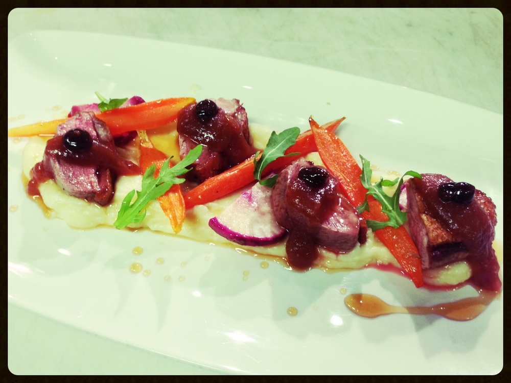 Jurgielewicz Duck Breast, Parsnip Puree, Heirloom Carrots, Red Wine Glaze