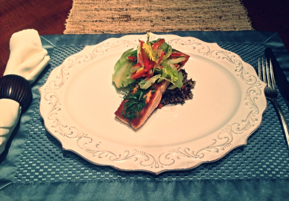Herb-Crusted Salmon, Rainbow Quinoa, Bok Choy, Celery and Lemon Salad