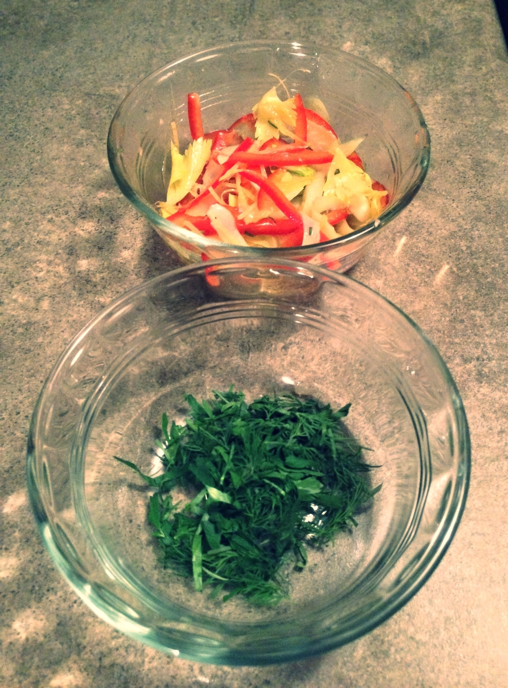 Herb Crust (Parsley, Tarragon, Dill) and Celery, Red Pepper and Lemon Salad
