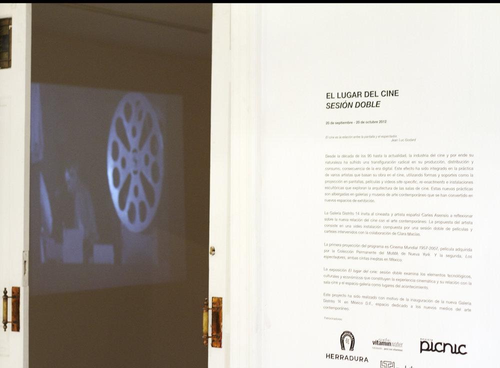 """CLARA MACIAS Y CARLES ASENSIO """"EL LUGAR DEL CINE, SESION DOBLE""""    DISTRITO 14 /MEXICO, D.F    SEPTIEMBRE 2012"""