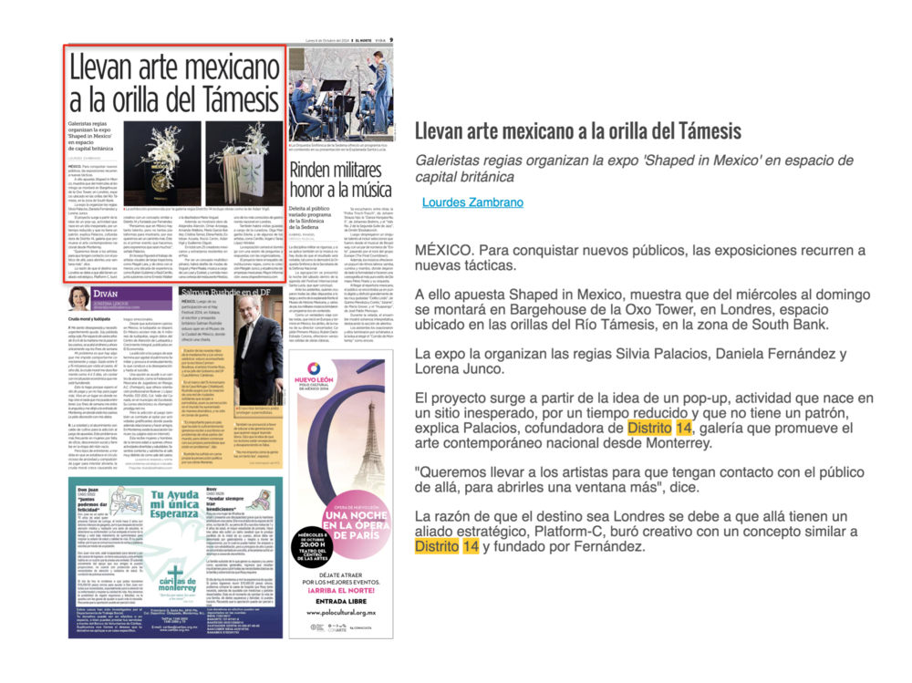 EL NORTE / SECCION VIDA   SHAPED IN MEXICO   OCTUBRE 2014