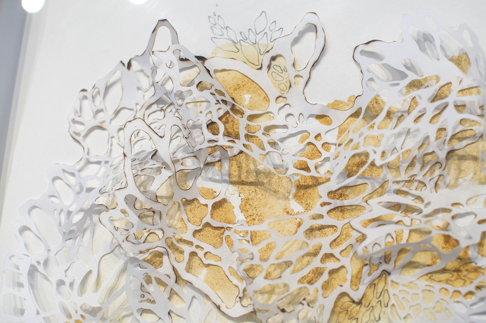 Is There an Ending to It? Detail  Handcut Rice Paper, Graphite, Turmeric  2014
