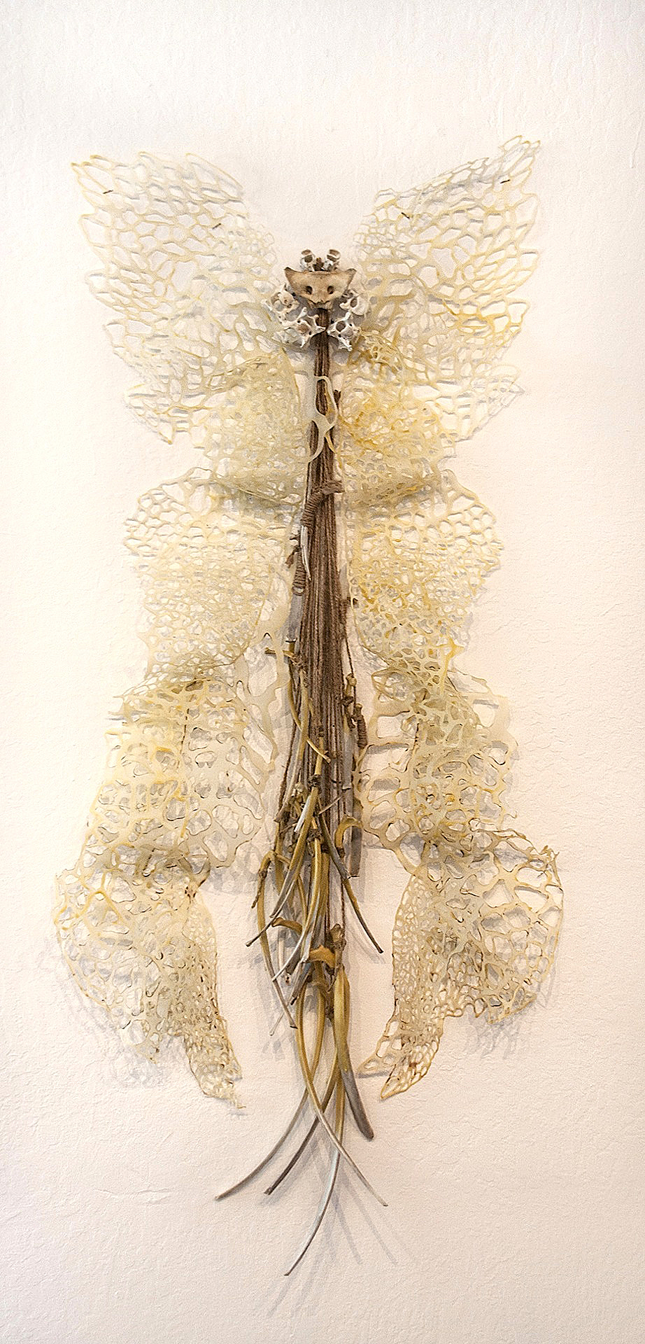 Makeshift Body  Handcut and Burnt Rice Paper, Beeswax, Bone  2014