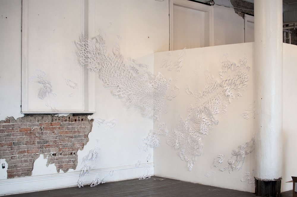 Untitled Installation  Handcut Paper  Pictured here installed at Unsmoke Art Systems in Braddock, PA. 2016.