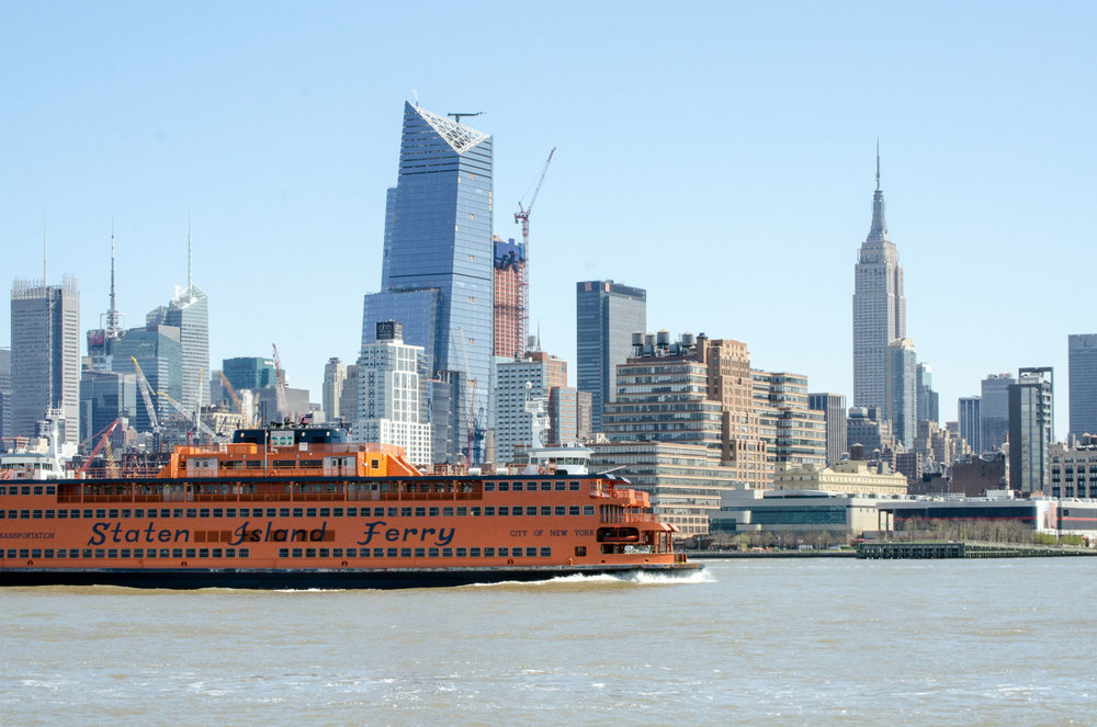 Staten Island Ferry on the Hudson River in NYC.