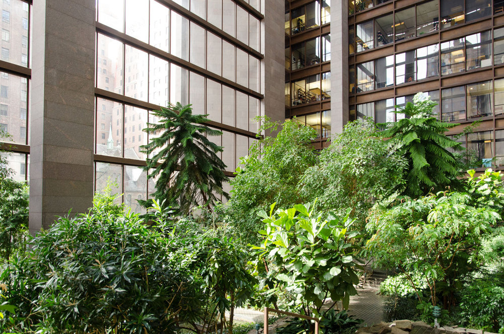 The lobby of the Ford Foundation building in Manhattan, NYC.