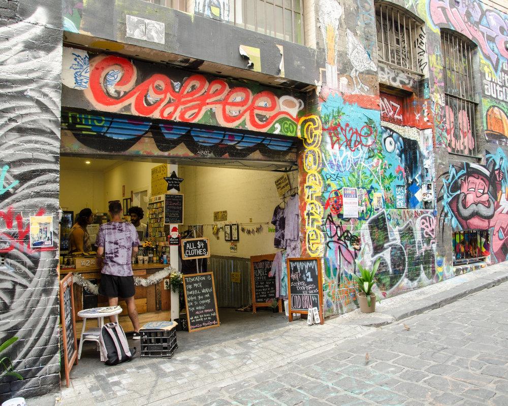 Coffee shop in Melbourne, Australia.