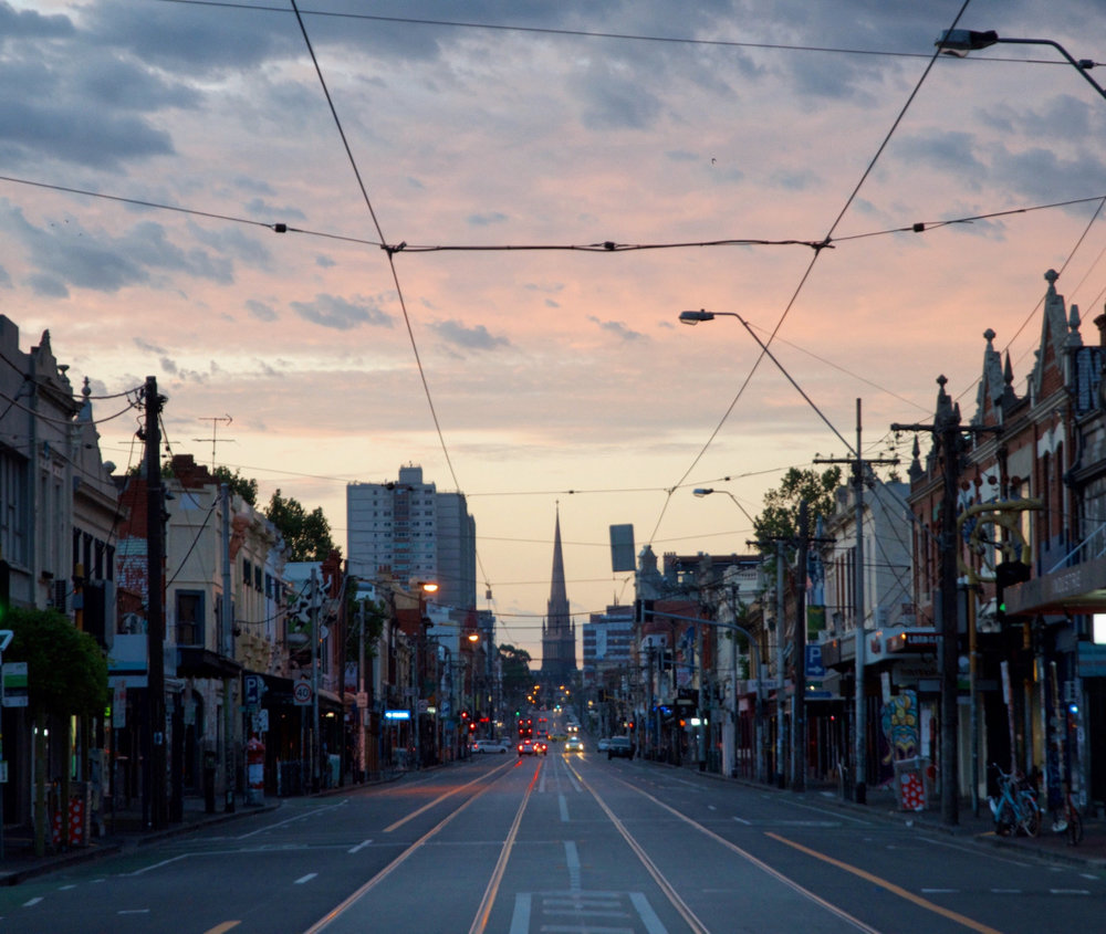 Sleepwalking through Brunswick St in Melbourne, Australia at about 6 am.