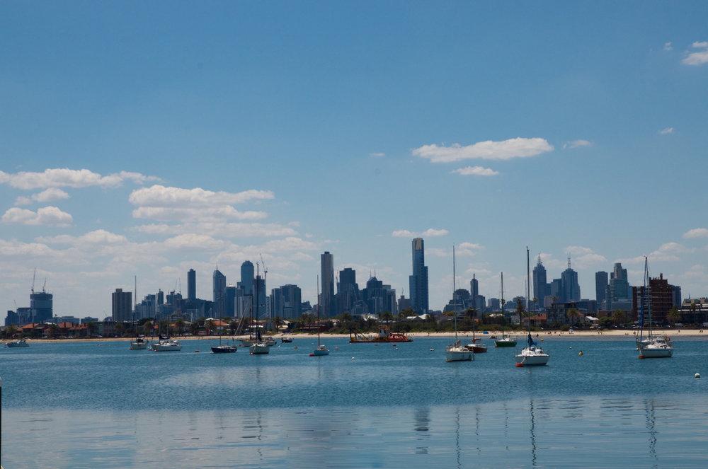 Melbourne skyline from St. Kilda Pier.