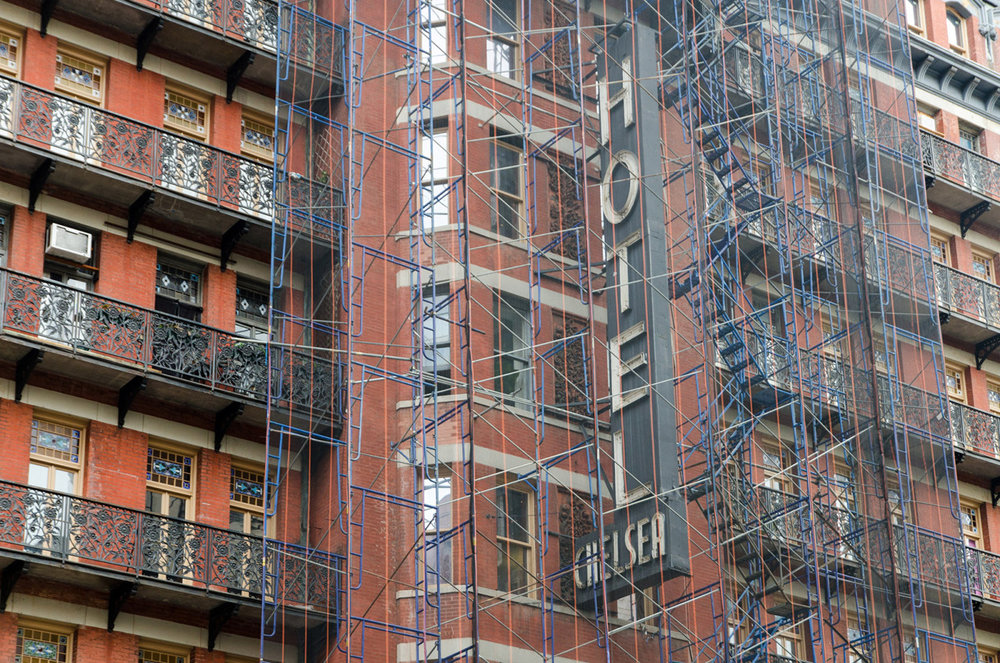 Chelsea Hotel under renovation. Chelsea, NYC.