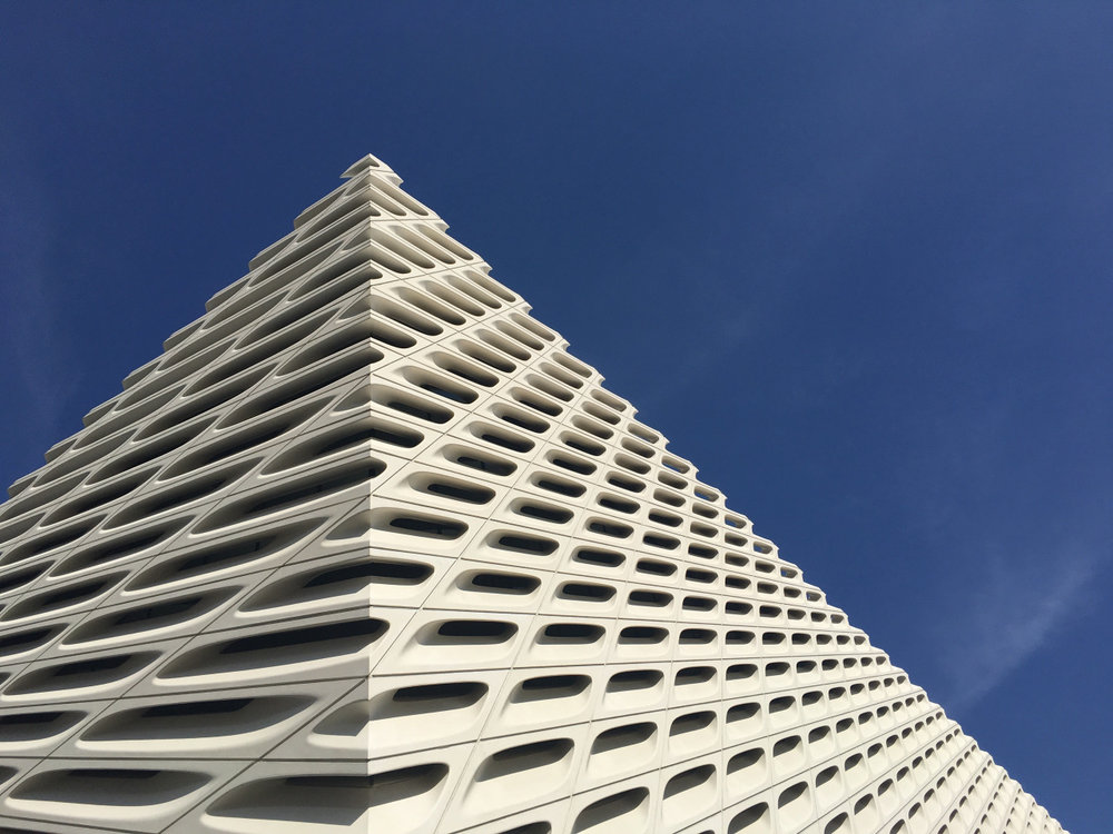 Facade of the Broad Museum in downtown Los Angeles.