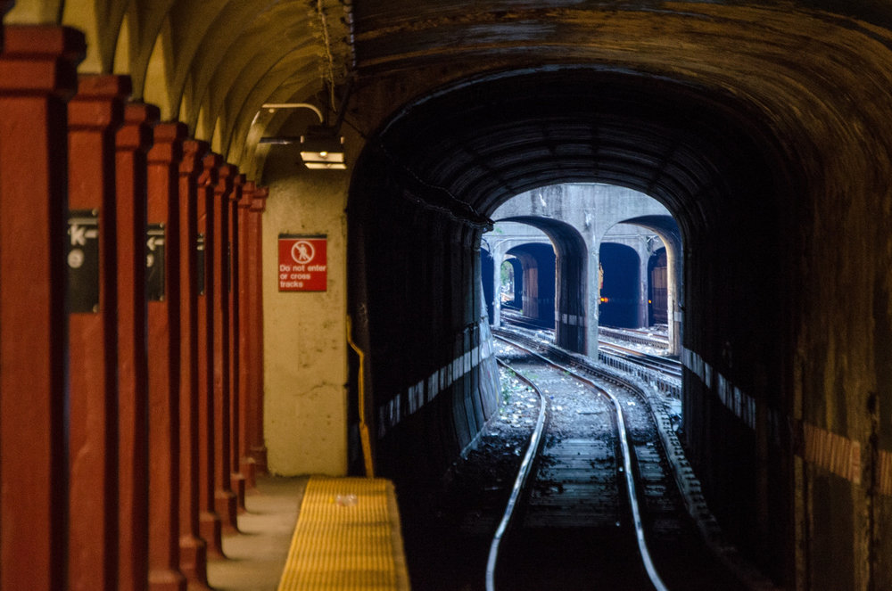 Subway tunnels in Lefferts Gardens, Brooklyn, NYC.
