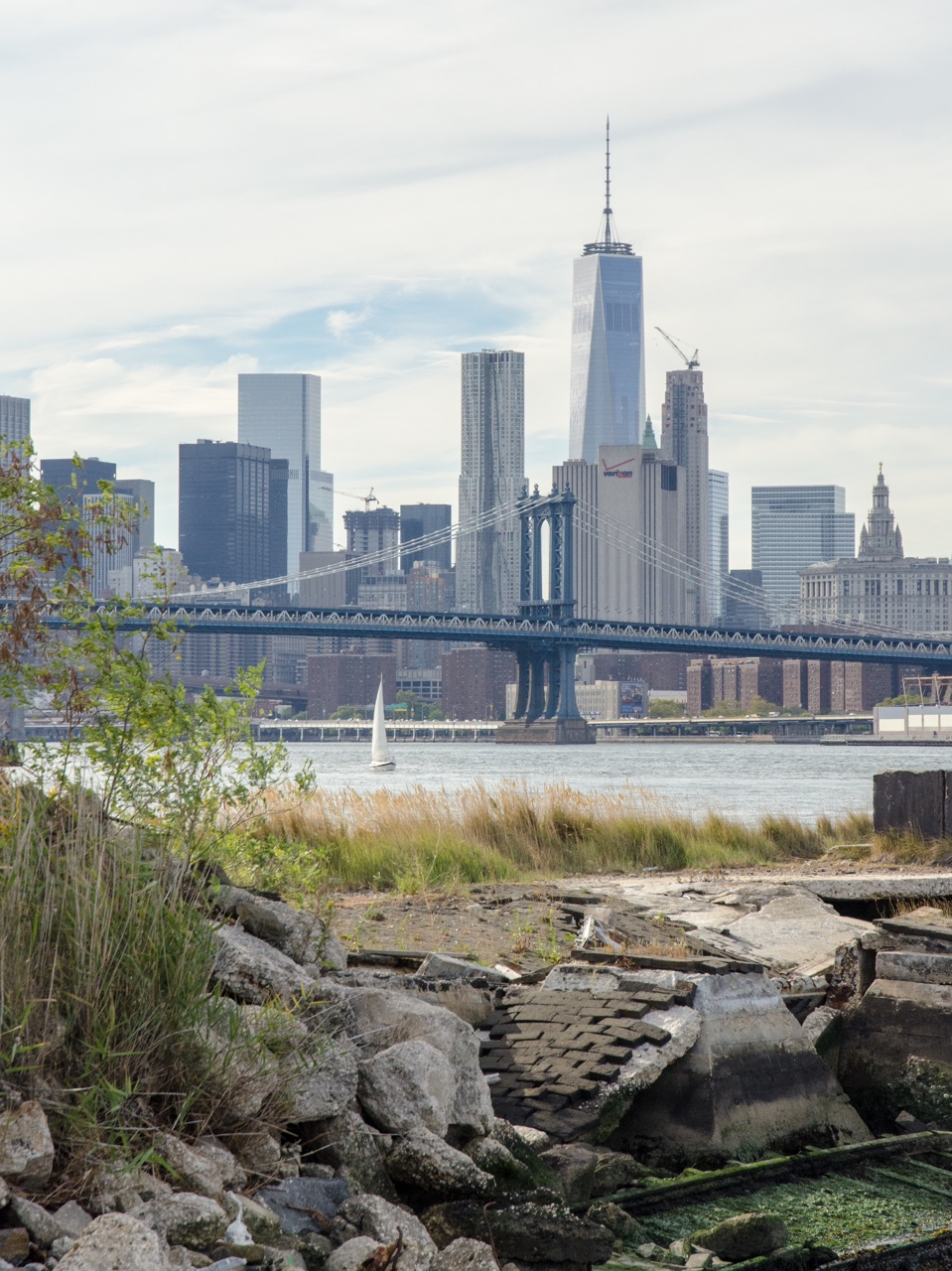 One World Trade Center and the Manhattan skyline from the Brooklyn Navy Yard.