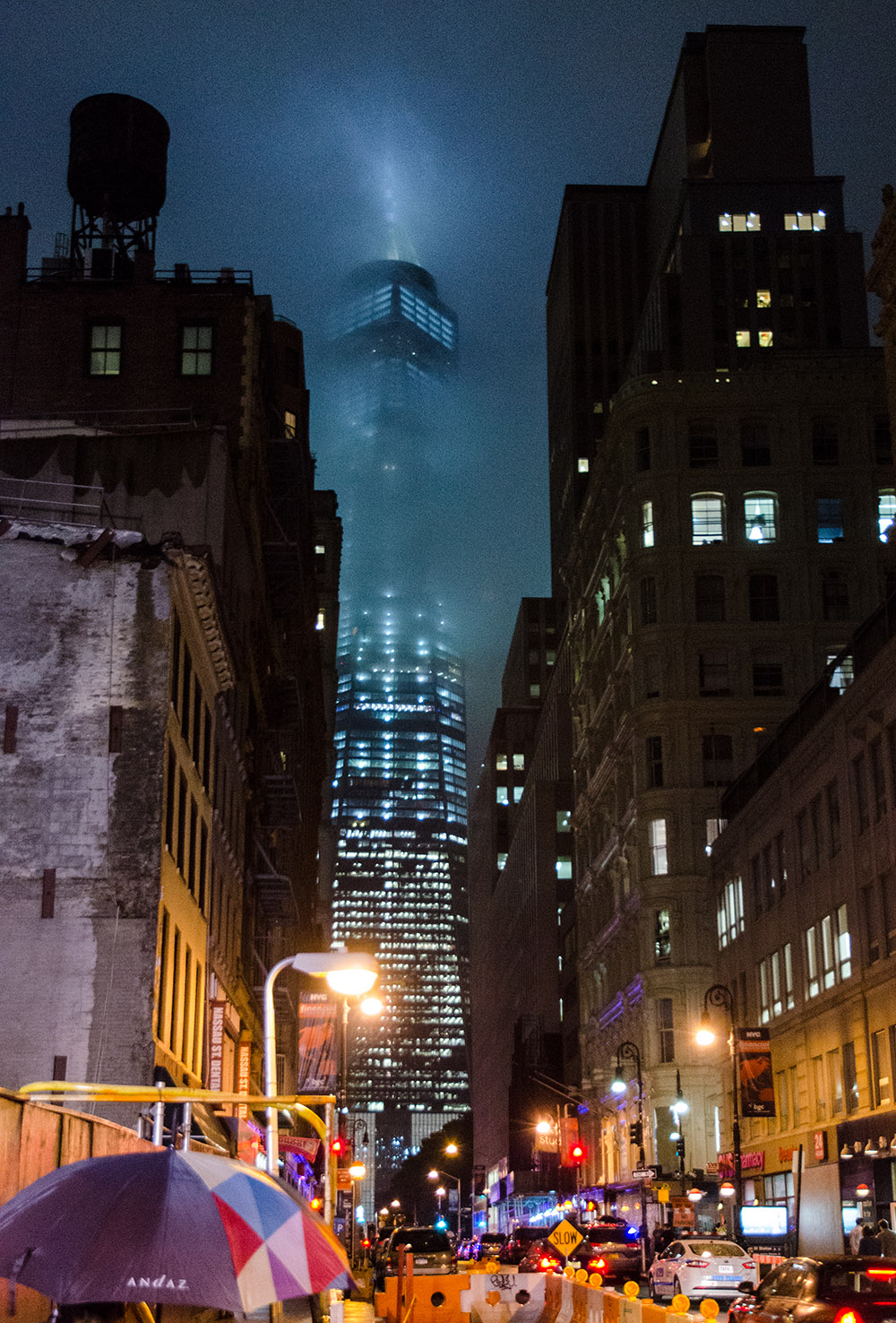 One World Trade Center at night from Fulton Street in Lower Manhattan, NYC.