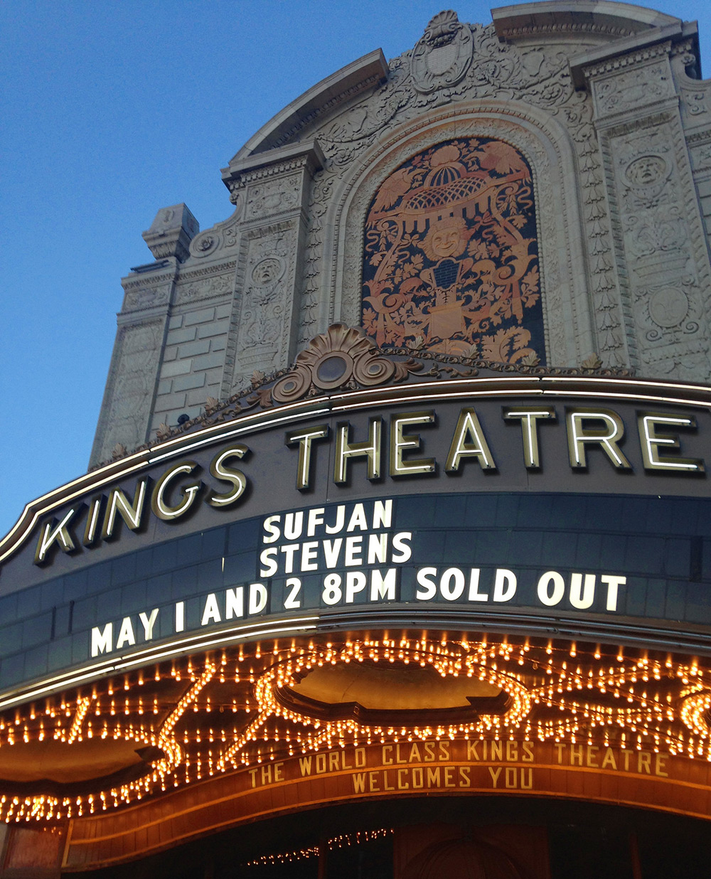 The facade of the newly renovated Kings Theatre in Ditmas Park, Brooklyn, NY. Complete renovation totaled $93 million.