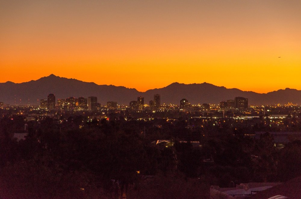 Sun sets on downtown Phoenix, AZ.