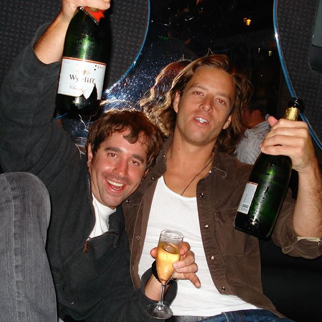 10 years ago today. One of these two wisely gave up drinking years ago. #faketeeth #champagnejam #2007