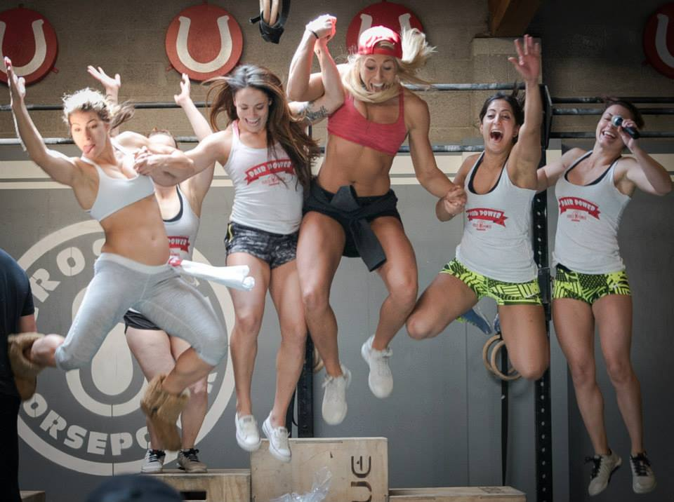 Jen Widerstrom, Marie Hirsch, Hayley Montroy, Angelina Pedroza and Danielle Marino Winning Teams from CrossFit Horsepower's Pair Power Competition