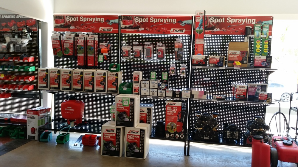 Come in and see our new Silvan shelving displaying the many pumps, filters and spray requirements that we stock for you convenience