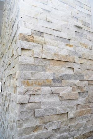 Stack stone fireplace detail