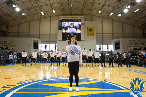 50b42951 Santa Cruz Warriors fans are treated to the National Anthem at Kaiser  Permanente Arena on March 27, 2016 (Photo: Ariel Nava Photography)