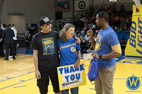 8030fd84 Two season ticket holders are recognized by the Santa Cruz Warriors at  Kaiser Permanente Arena on March 27, 2016 (Photo: Ariel Nava Photography)