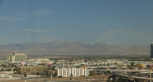 The view from our hotel room in the Luxor. We were upgraded to a tower suite at check in and it was wonderful!
