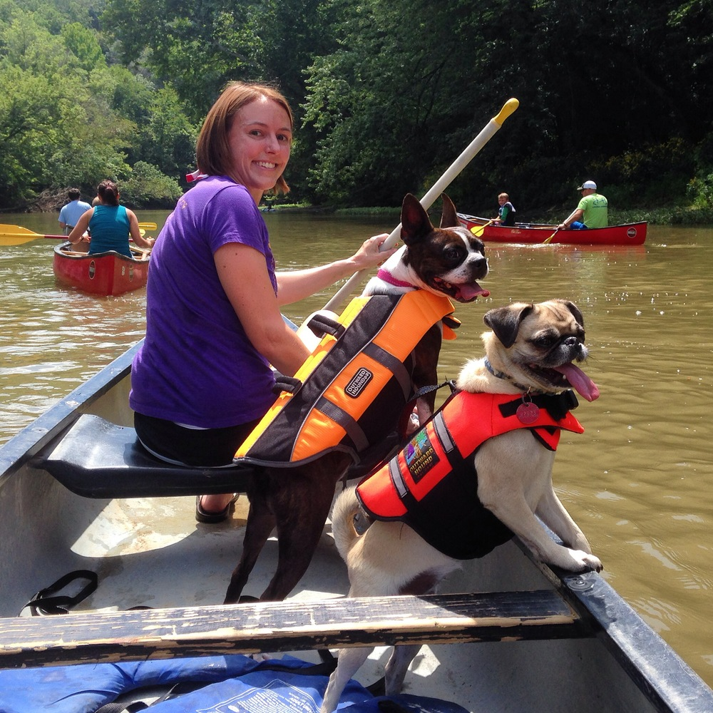 Zelda Pug, Peach, and I canoeing on a warm summer day. My husband snapped the picture from the other side of the boat.