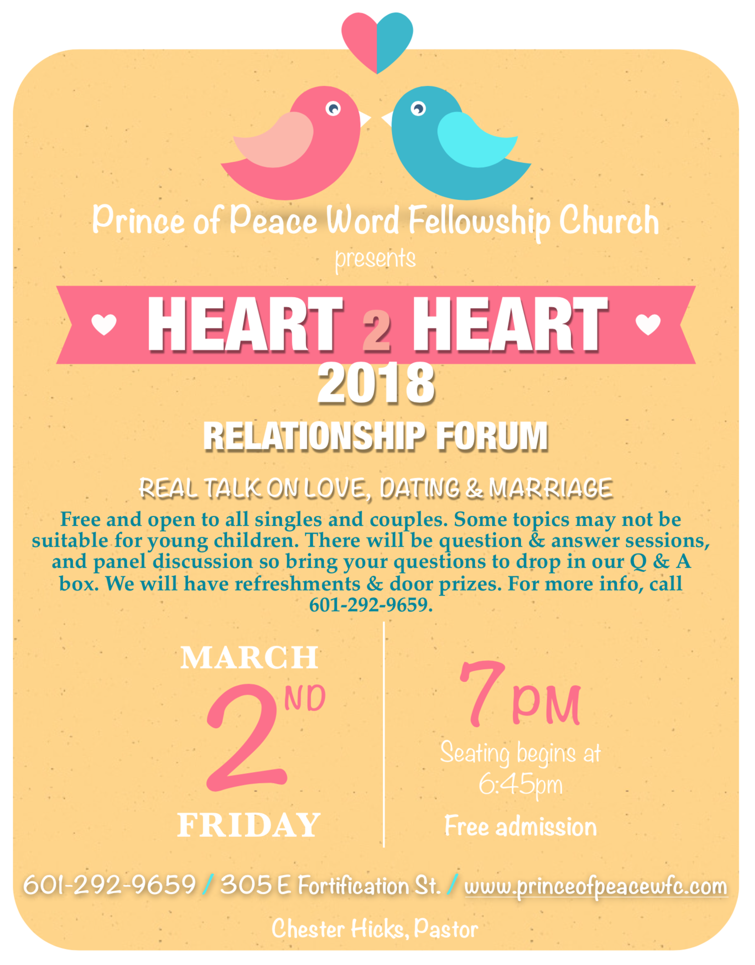 2018 Heart 2 Heart Relationship Forum — Prince of Peace Word