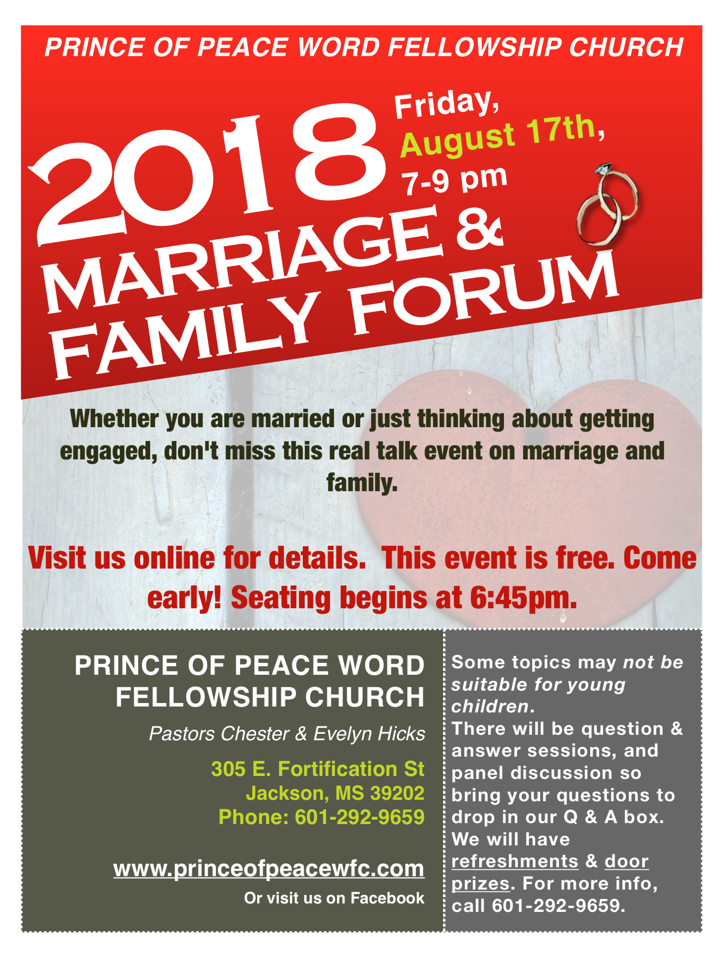 2018 Marriage & Family Forum — Prince of Peace Word