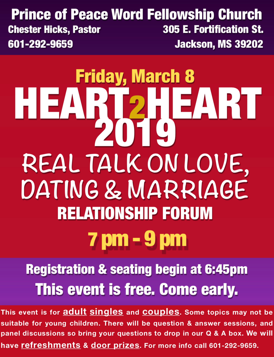 2019 Heart 2 Heart Relationship Forum — Prince of Peace Word
