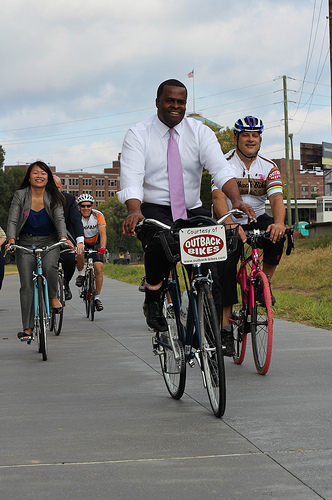 Kasim Reed biking the Beltline's Eastside Trail (photo from peopleforbikes.org