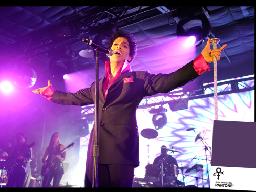 Photo By John Sciulli/Getty Images (Prince), Courtesy of Pantone (inset).