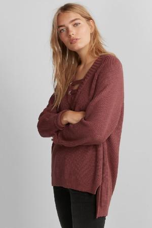Deep V-neck Bar Tunic Sweater