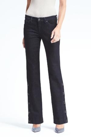 Logan-Fit Denim Button-Side Pants