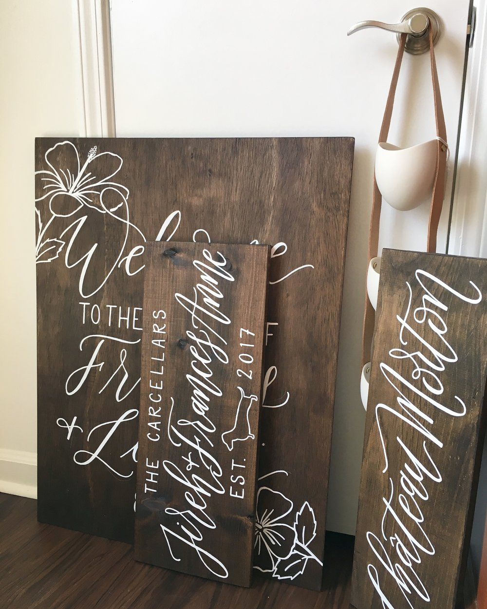 wood sign shop, hand lettered wood sign, custom wood sign, calligraphy wood sign, wood wedding sign