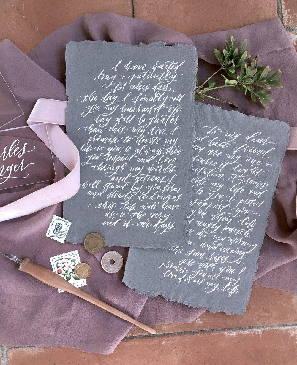 Summerour Studio Wedding Vows on Handmade Paper