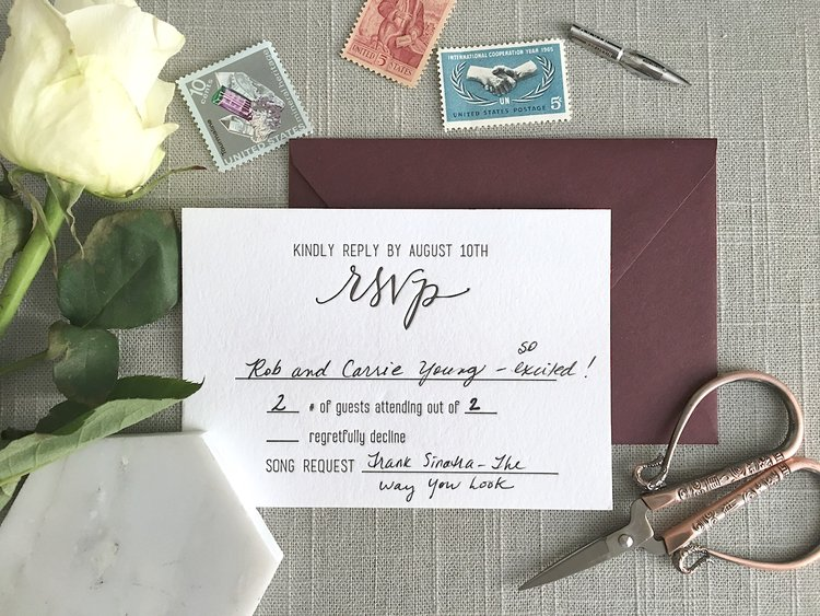 This Is A Returned RSVP Card For My Wedding As You Can See I