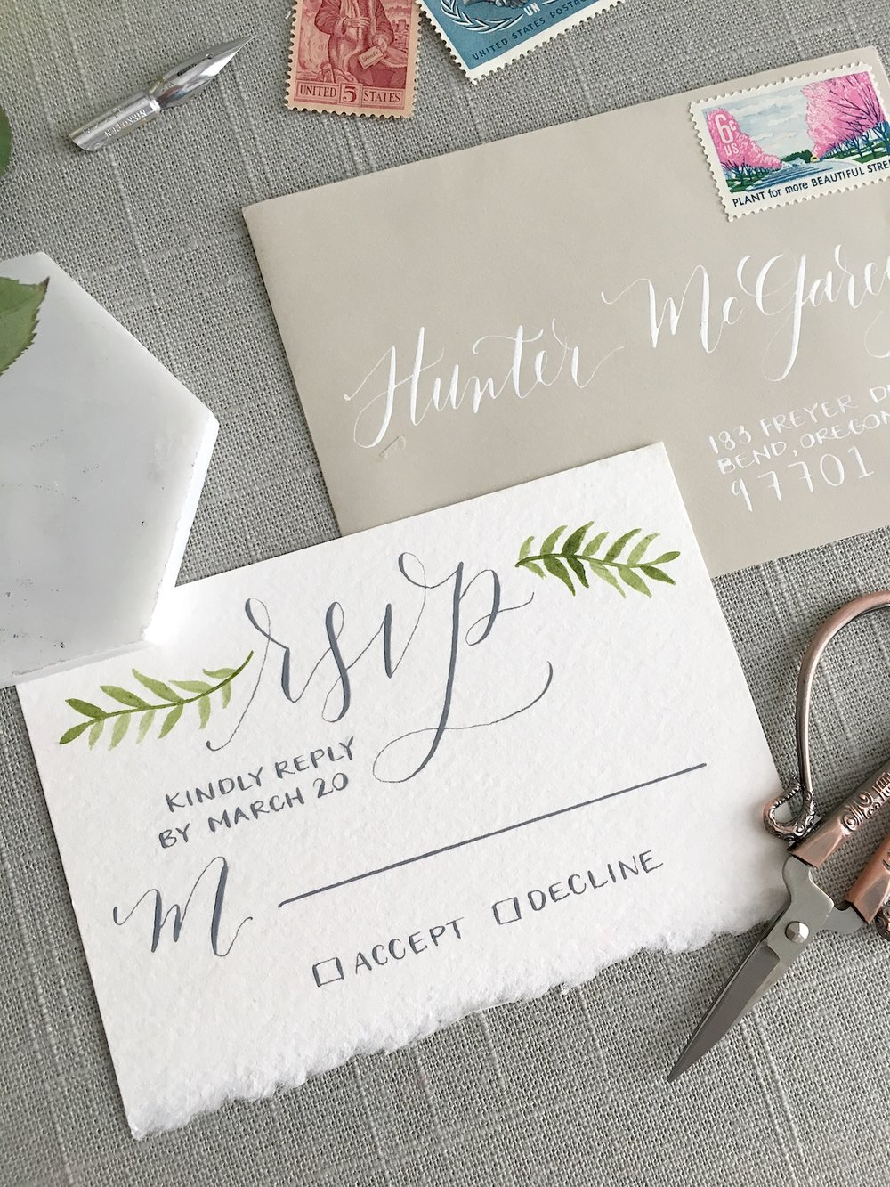 "This RSVP card was another one that was completed for a styled shoot, and for that reason it is definitely simplified! I still included the ""Kindly Reply by March 20"" because having something like that is essential for every RSVP card."