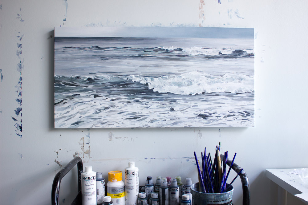 realistic ocean painting, beautiful ocean painting, brynn casey ocean painting