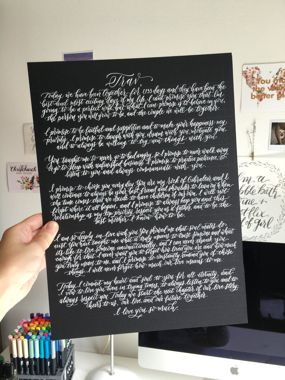 vows written in calligraphy as a keepsake wedding gift