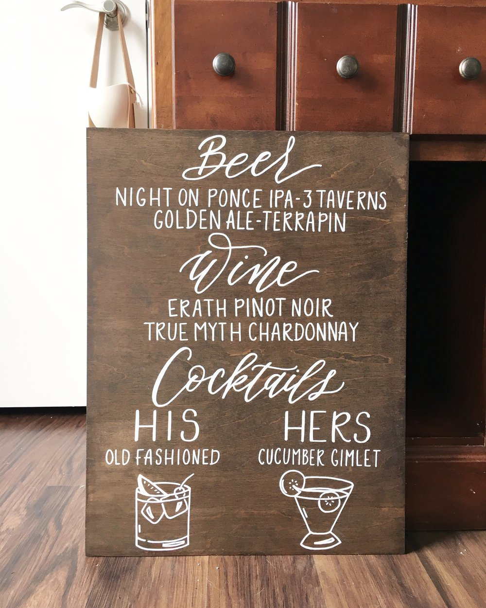 bar menu wood sign, hand lettered bar menu, hand lettered wood sign, wedding bar sign, wood wedding sign