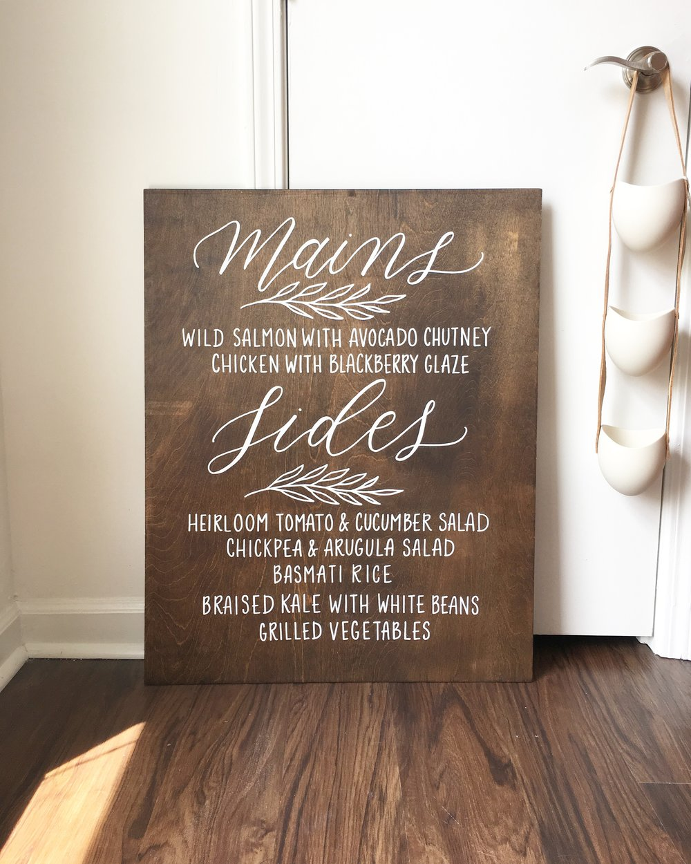 menu wedding sign, custom wood sign, wood wedding sign, hand lettered wood sign, hand painted wood sign