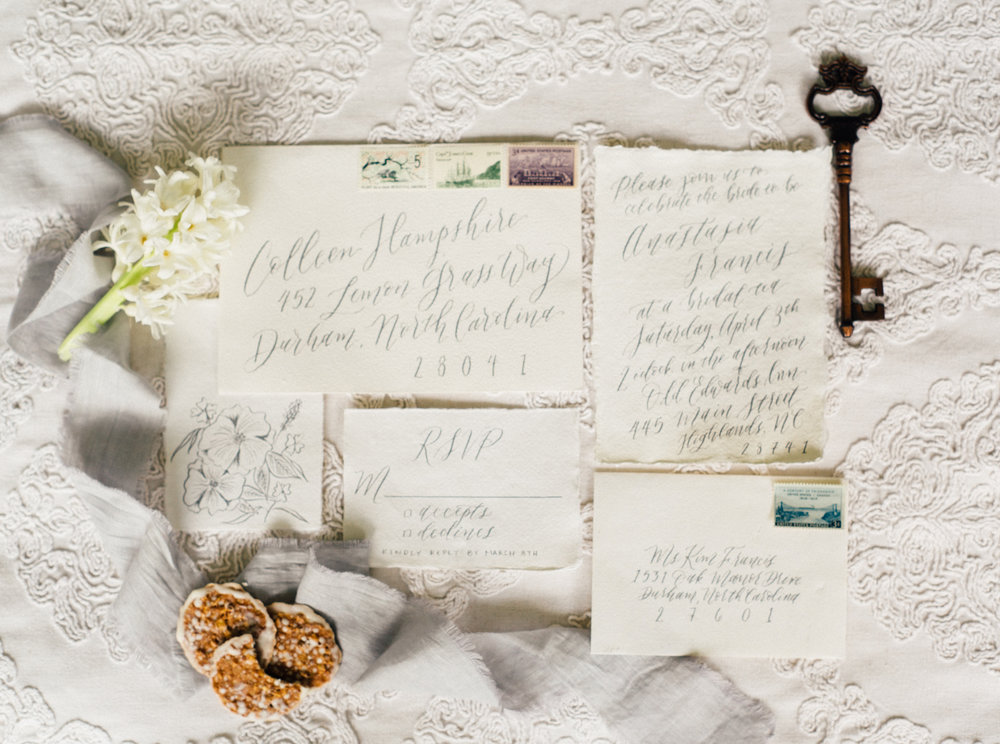 If you want a suite where your invitation is written fully in calligraphy that is an option as well! It is truly romantic and timeless for wedding invitations. Photo by Noi Tran.