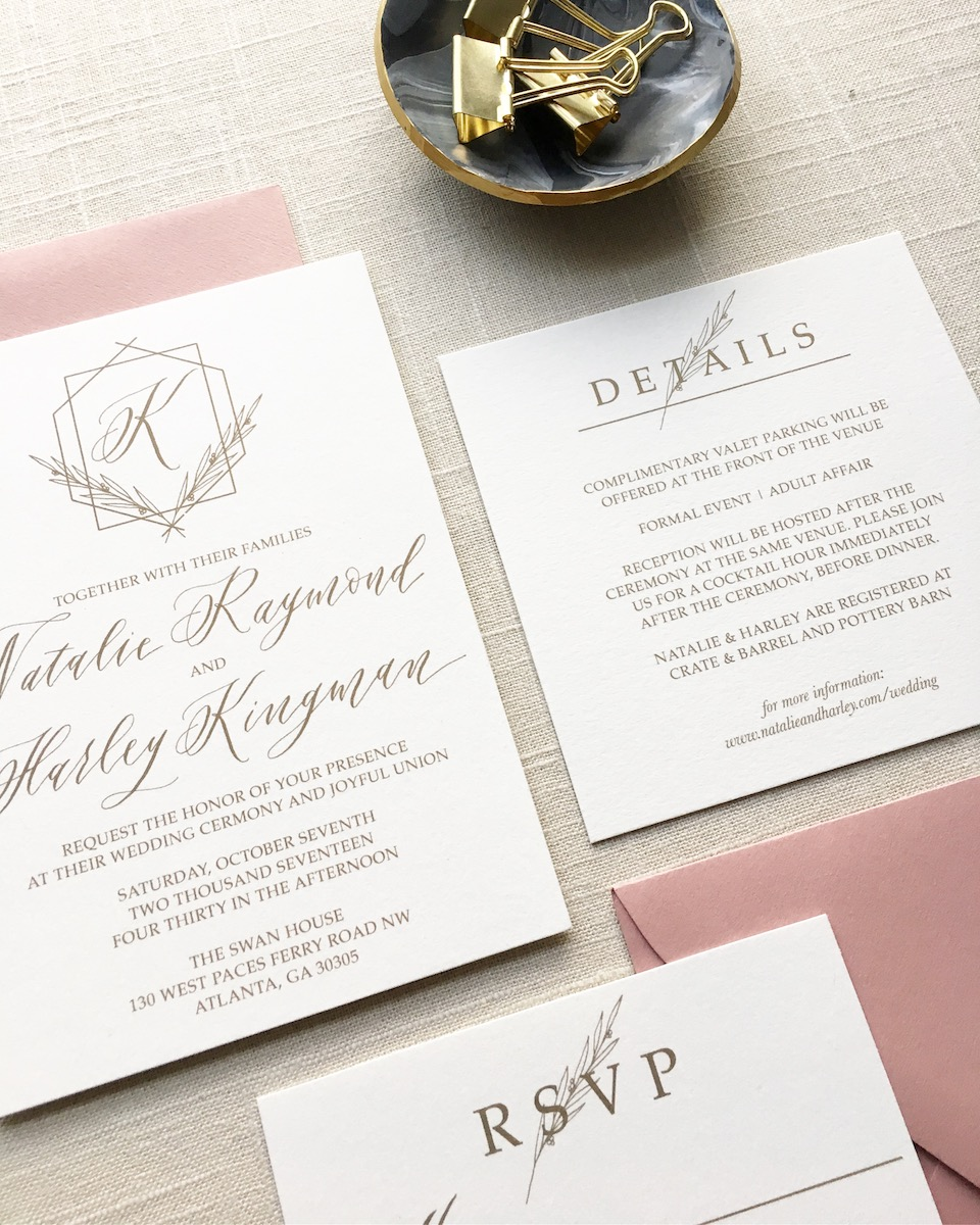 IMPORTANT TO NOTE: You will end up saving yourself time and money if you can find a stationer that is also a calligrapher! That way you can guarantee that the calligraphy and design used for your custom wedding invitation matches the envelope addressing.