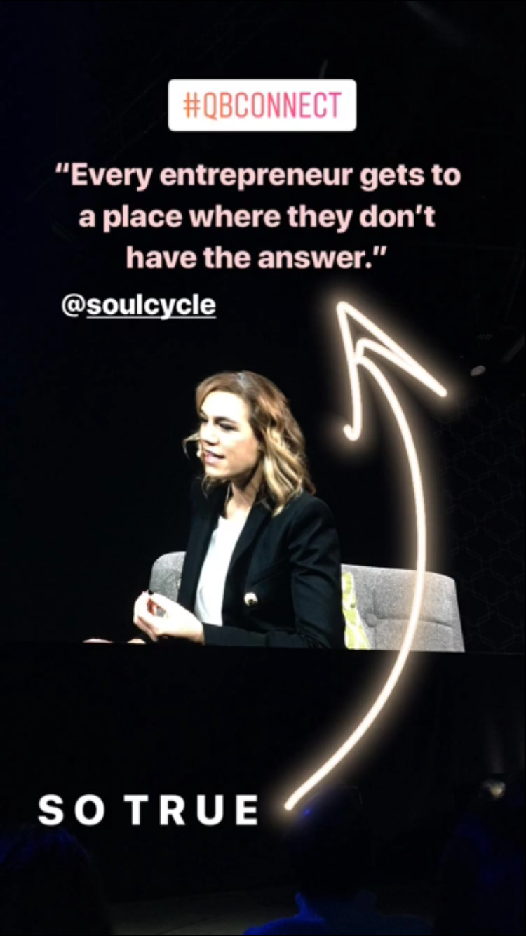 Julie Rice, Co-Founder of SoulCycle, had some great insights that I loved! Photo posted on my  Instagram  story Nov. 16, 2017.