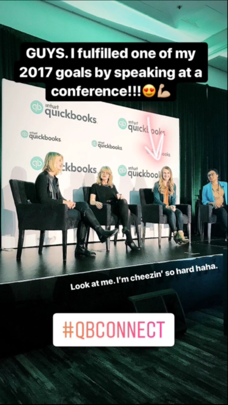 Speaking on the QuickBook Self-Employed panel was so much fun! Photo was taken Nov. 16, 2017 and posted to my  Instagram  stories.